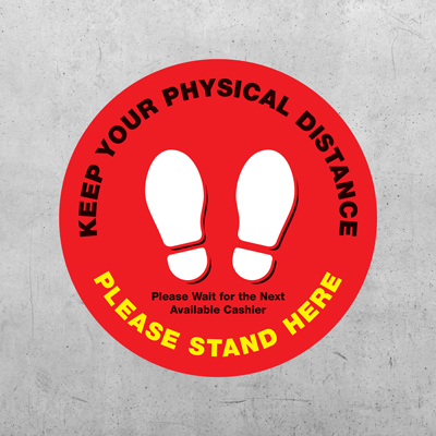 "Stand Here Circle Floor Decal - 12"" x 12"""